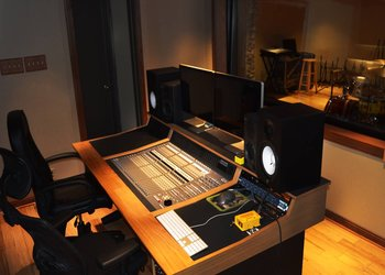 A photo of the engineer room at the On The Moon Studio - photo by Chelsie Porter